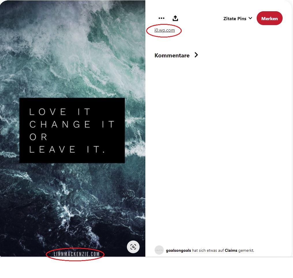 Spam Inhalt auf Pinterest Beispiel